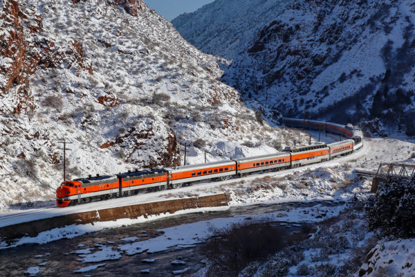 Royal Gorge Route Holiday Train in the Snowy Gorge