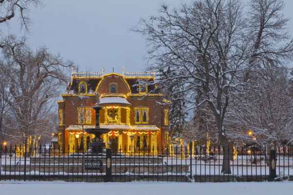 Robison Mansion with Christmas lights,