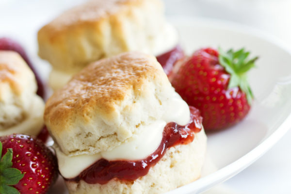 Afternoon tea biscuits and strawberries