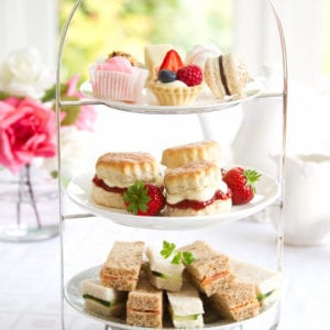 Traditional afternoon tea served with scones