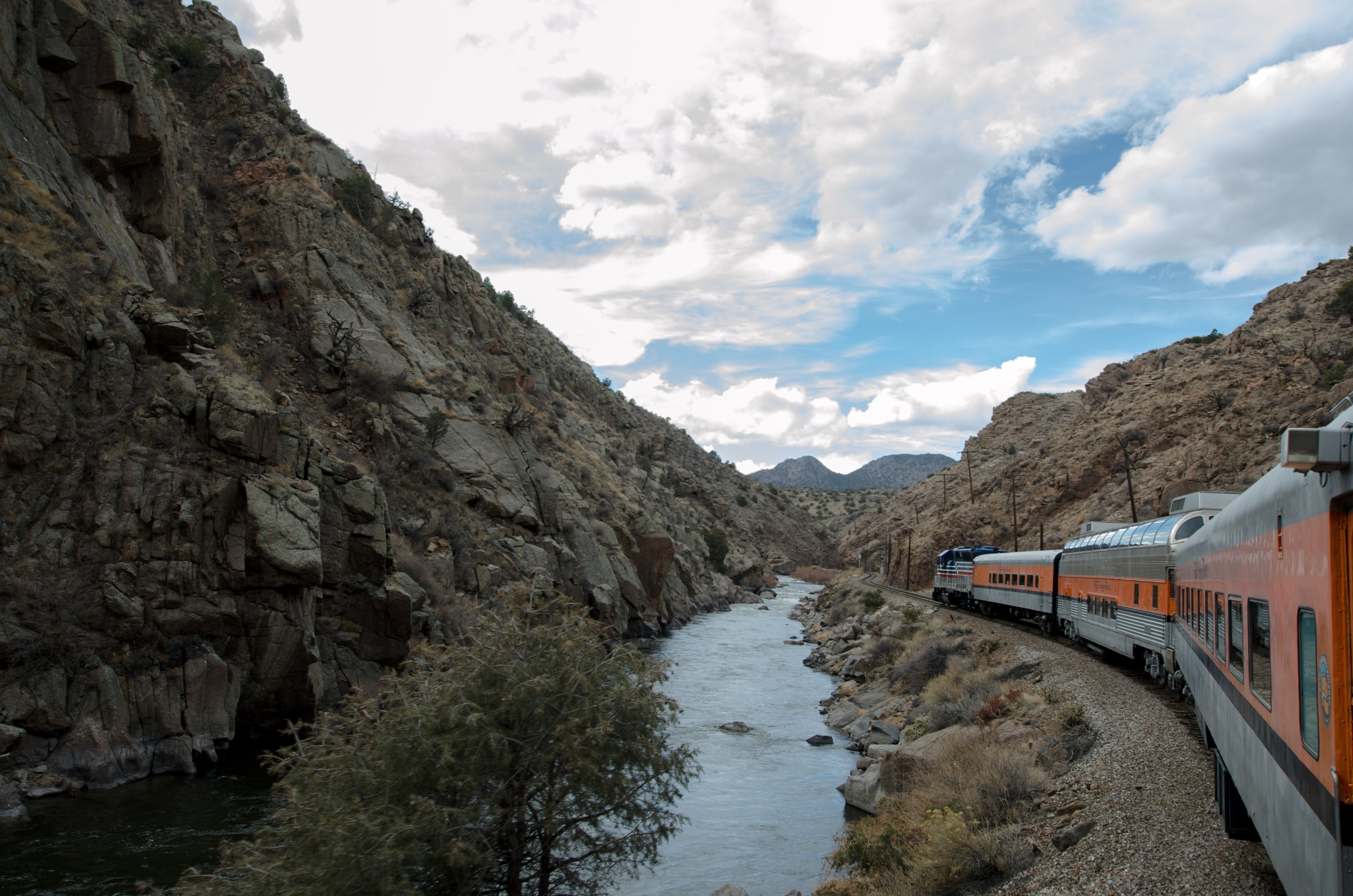 the royal gorge route driving through a canyon